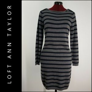 Ann Taylor Loft  Woman Long Sleeve Stripe Dress LP